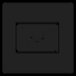 Ícone quadrado envelope preto