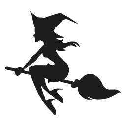 Broom riding witch silhouette