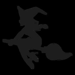 Vassoura, montando, bruxa, silueta