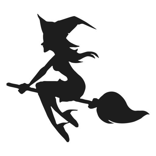 Vassoura montando bruxa silueta