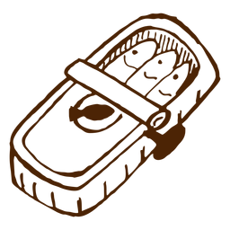 Camping de sardinas en lata dibujado a mano icono