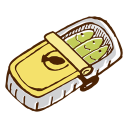 Icono de sardinas en lata de camping.