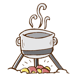 Camping cooking pot icon