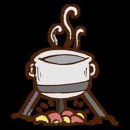 Icono de olla de cocina de camping