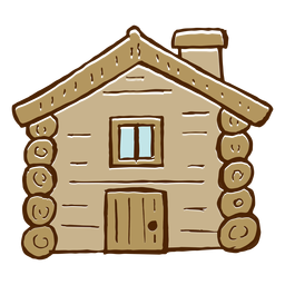 Camping log cabin icon
