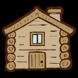 Icono de cabaña de troncos que acampa