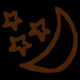 Kampierende Sterne und gezeichnete Ikonen des Mondes Hand