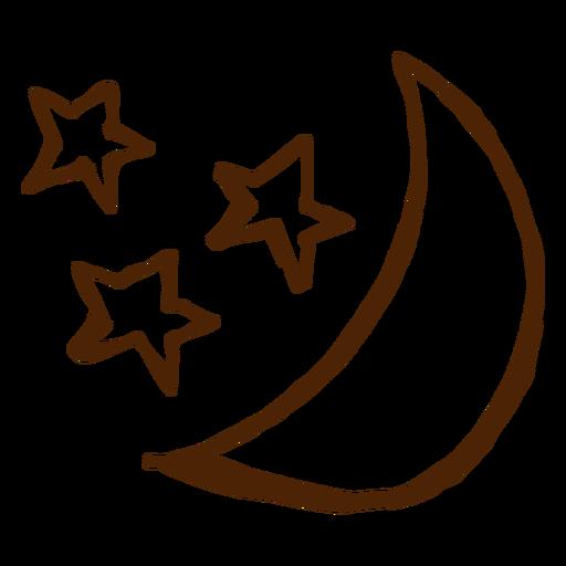 Camping estrellas y luna iconos dibujados a mano Transparent PNG