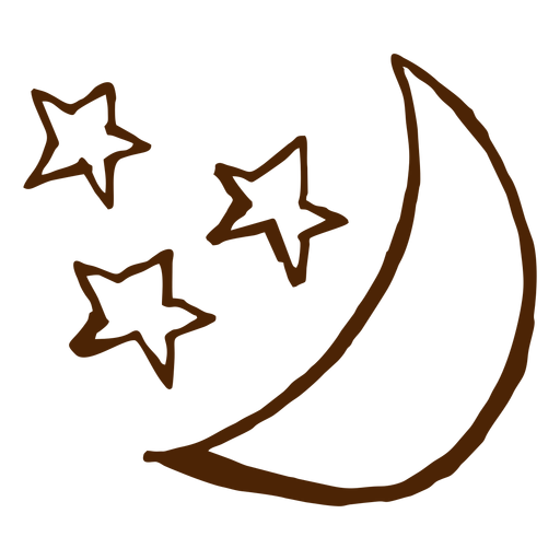 Camping stars and moon hand drawn icons Transparent PNG