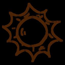 Icono dibujado mano sol camping
