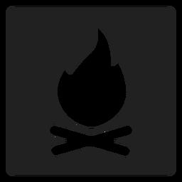 Ícone quadrado fogueira de acampamento