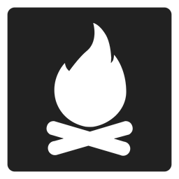 Icono cuadrado de hoguera de camping