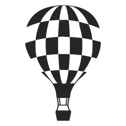 Checkered hot air balloon silhouette