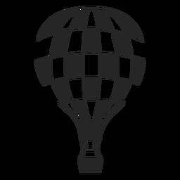 Silueta de globo de aire caliente a cuadros