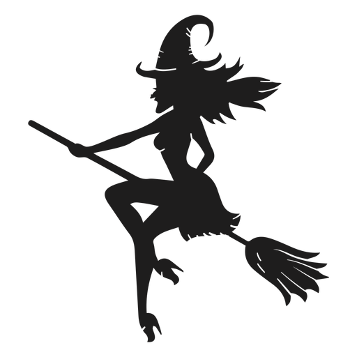 Classic halloween witch silhouette Transparent PNG