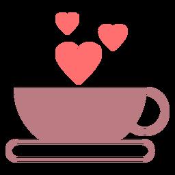 Ícone de estilo de linha de amor de café