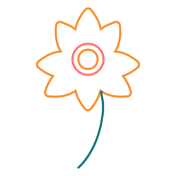 Ícone de estilo de linha de flor colorida