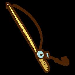 Icono de caña de pescar dibujado a mano color