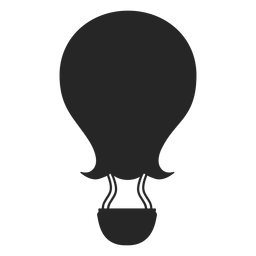 Silueta de globo aerostático de punta curva.