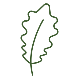 Icono de hoja con curvas