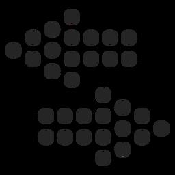 Icono de flechas de grandes puntos