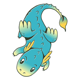 Cute blue baby dragon illustration