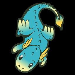 Ilustração de dragão azul bebê fofo
