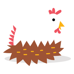 Cute chicken laying eggs vector