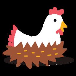 Linda gallina poniendo huevos vector