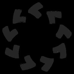 Flechas en sentido contrario a las agujas del reloj