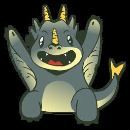 Cute grey baby dragon illustration