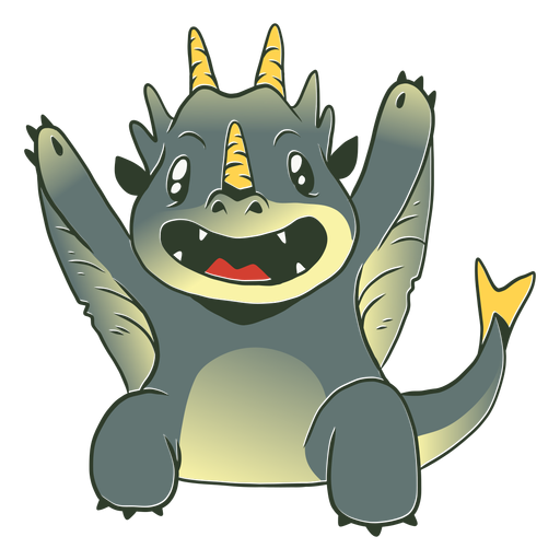 Cute grey baby dragon illustration Transparent PNG