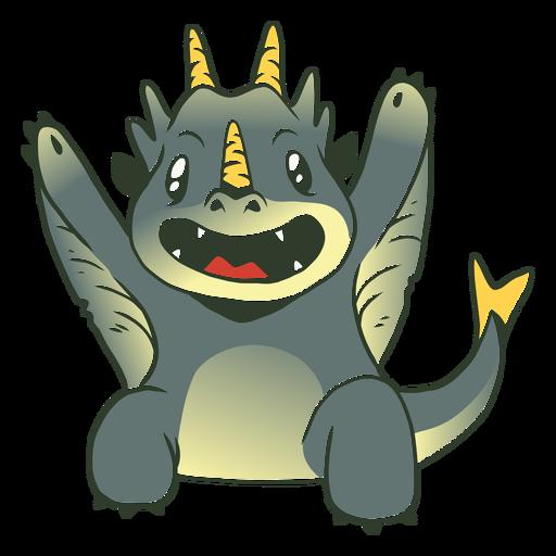 Ilustração de dragão cinza bebê fofo Transparent PNG
