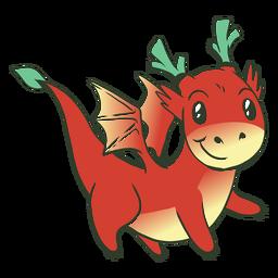 Ilustración de dragón bebé rojo