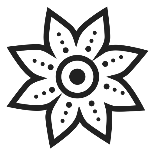 Dotted petal flower icon Transparent PNG