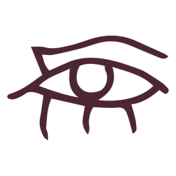 Egyptian eye with flowing tears hieroglyphs symbol
