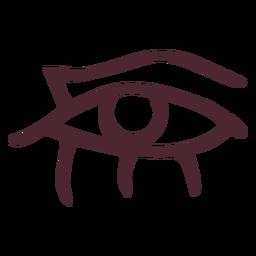 Ojo egipcio con lágrimas que fluyen símbolo de jeroglíficos
