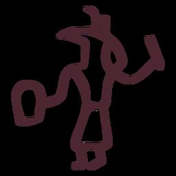Deus egípcio com símbolo de hieróglifos de vara e clube