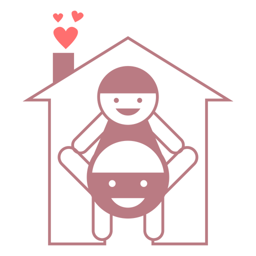 Vector de estilo de línea de hogar familiar