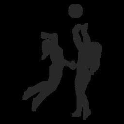 Silhueta de jogadores de vôlei feminino