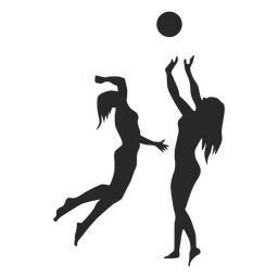 Silueta femenina de jugadores de voleibol