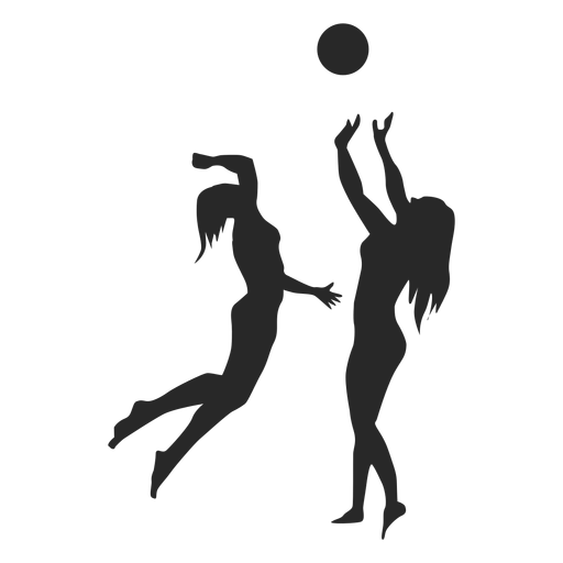 Female volleyball players silhouette Transparent PNG