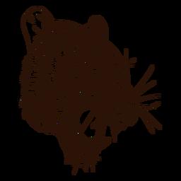 Heftige Tigerhand gezeichnet