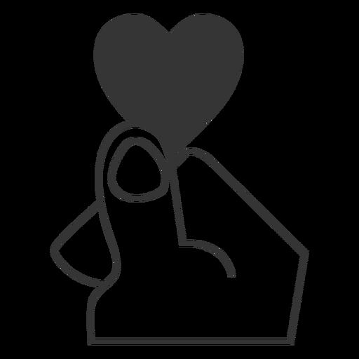 Ícone do estilo da linha do coração do dedo Transparent PNG