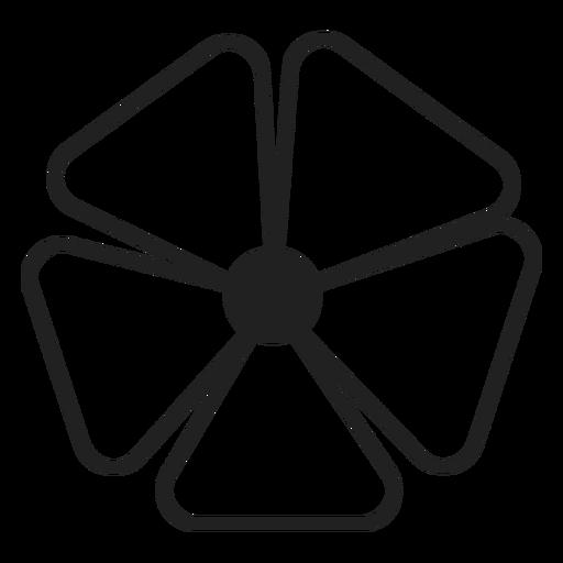 Five petals flower vector