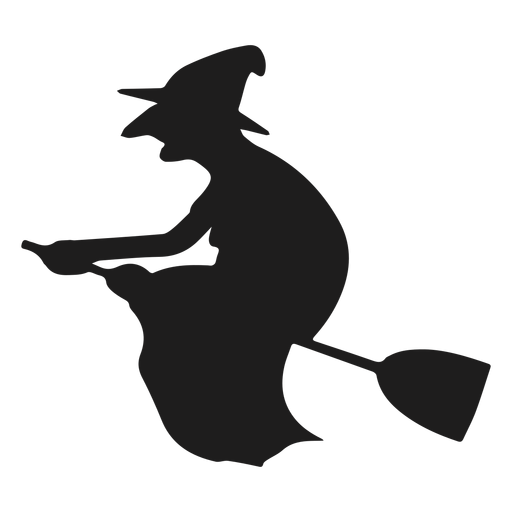 Flat old witch silhouette Transparent PNG