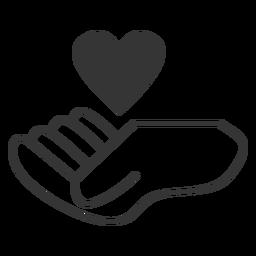 Coração flutuante sobre mão ícone de estilo