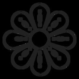 Icono de contorno punteado de flor