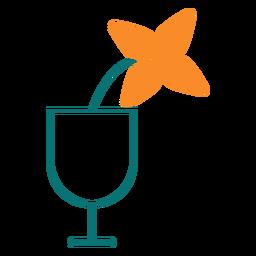 Flor en un icono de estilo de línea de vidrio