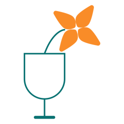 Flower in a glass line style icon